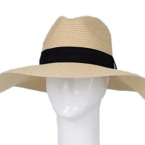 Straw Hat With Wide Band, Beige